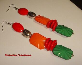 Very long earrings, colorful earrings, large statement earrings, funky jewelry, chunky earrings, big bold earrings, multicolor earrings