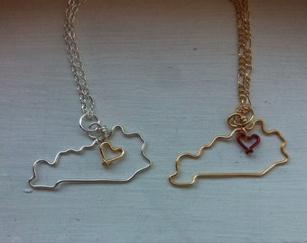 Kentucky necklace, state outline, state pendant