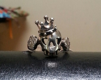 sterling silver  skull crown ring rockabiily alternative steampunk gothic art nouveau victorian