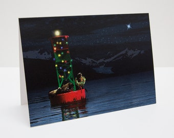 Sea Lion Christmas / Holiday Photo Greeting Card