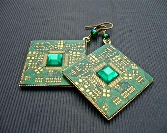 Earring -cyclix- Printed Circuit Board, PCB Earrings, Motherboard