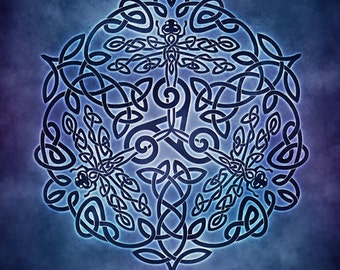 Celtic Dragonflies Triskele Knotwork -  Pagan Wiccan Print - Brigid Ashwood