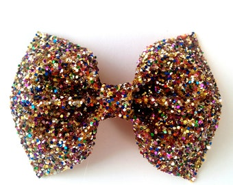 Mini Multi Colour Glitter Bow / Multi Glitter Bow / Glitter Fabric Bow / Headband / Sparkly Hair Clip / Bow Hair Clip