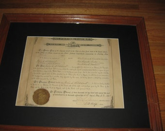 """1880 LAW DIPLOMA John Stoddart Supreme Court State Of New York Village Of Ithaca NY Framed In A Vintage Oak Frame 18 1/2"""" x 22 1/2"""""""