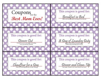 Mom coupon book | Etsy