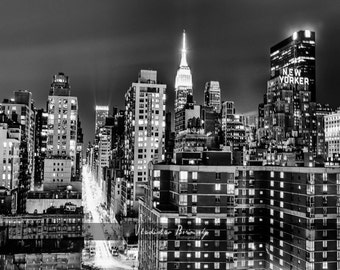 New York Photography - Manhattan Skyline at Night, With New Yorker Hotel and Empire State Building. New York - 8x10 photo