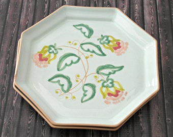 2 Mint Floral Hexagon Handmade Plates