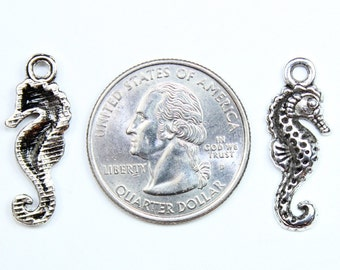 Antique Silver Seahorse Charms 6 QTY
