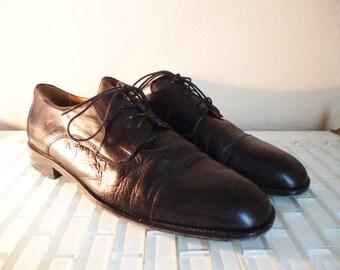 Black Leather Oxford Italy 10 Fronto Uomo Mens Black Leather Dress Shoe Size 10