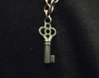 Steampunk style stubby key pendant