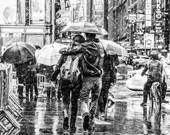 New York City Black and White Street Photograph, Times Square, Couple in the Snow, NYC Romantic