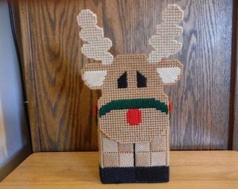 Tissue Box Cover Plastic Canvas Reindeer, needlepoint, Christmas gift,  box cover, Christmas tissue, tissue box, rudolph decor