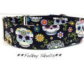 Martingale Dog Collar - Folkey Skulls