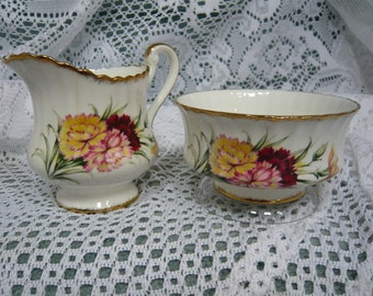 PARAGON Fine  Bone China Cream and Sugar CARNATIONS Made in England Circa 1960s