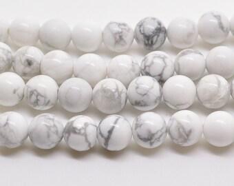 """16""""  Natural  White  Howlite  Round  Gemstone Beads--6mm"""