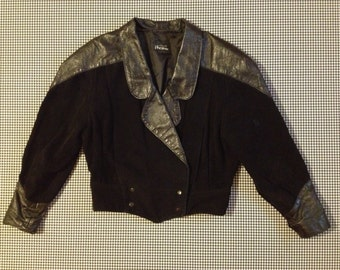1980's, black suede, and ostrich design leather, plunging V front, double breasted jacket, Women size Large