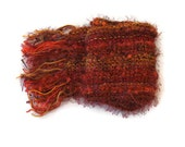 Autumn Leaves, hand knitted scarf, orange, red, yellow, textures, OOAK, warm, soft