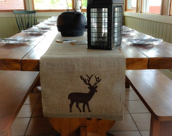 "Burlap Table Runner 16"" & 18"" wide with a Deer on each end"