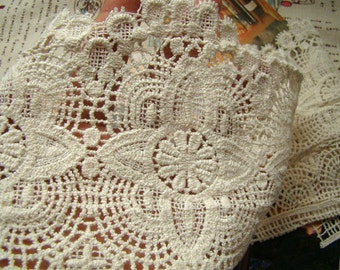 vintage lace fabric trim, crochet trim lace, cotton lace fabric