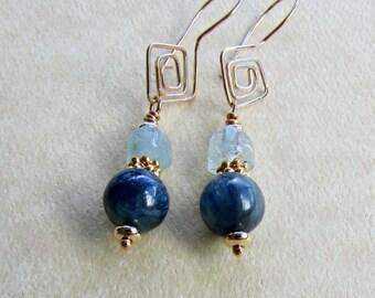 Kyanite Earrings - Blue Kyanite, Aquamarine & Gold Earrings - Gemstone and Gold  Earrings - Natural Stone Earrings - Gemstone Drop Earrings