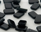 30pcs Black with Matt Rectangles Table Cut Beads 12x8mm