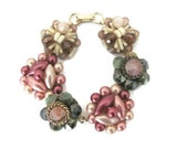 Upcycled Bracelet - Vintage Clip On Earring Bracelet - Beaded Bracelet - Mauve, Green