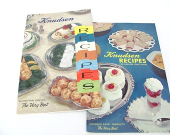 Vintage Recipe Booklets, 1950s Knudsen Cookbook, Pamphlets, 1950s Dairy Recipes