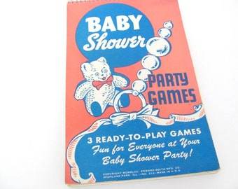 Vintage Baby Shower Game Book, 1940's Baby Shower Party Games Booklet, Mid Century