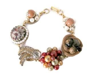 Upcycled Bracelet, Vintage Clip On Earring Bracelet, Beaded Bracelet - Gold, Cream, Black, Eco Friendly