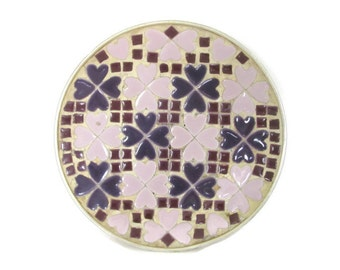 Vintage Mosaic Tile Dish, 1960's Purple Mosaic Tile Plate, Tray, Mid Century Decor