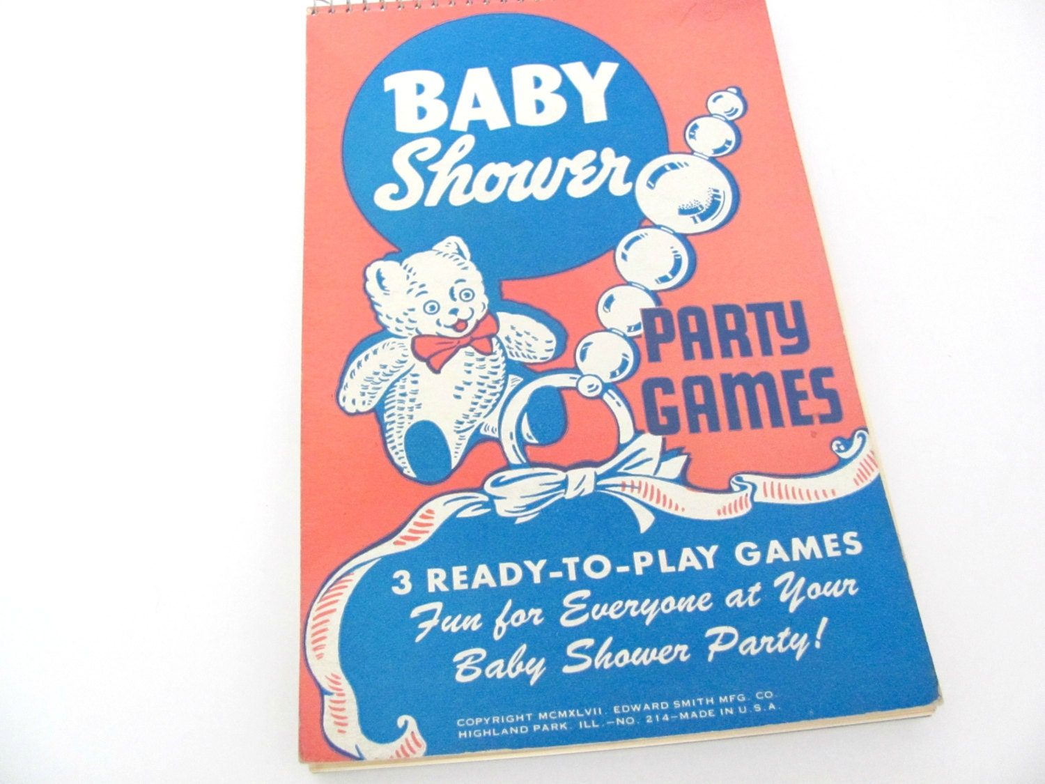 Vintage baby shower game book 1940 39 s baby shower party for Baby shower game booklet template