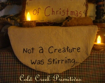 Not A Creature was Stirring... Primitive Shelf Mat
