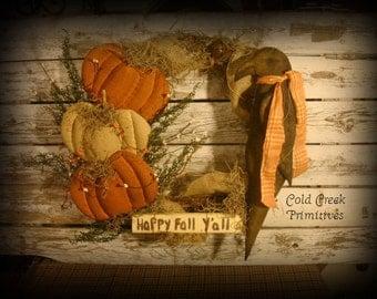 "Primitive Fall Crow & Pumpkin Wreath 14"""