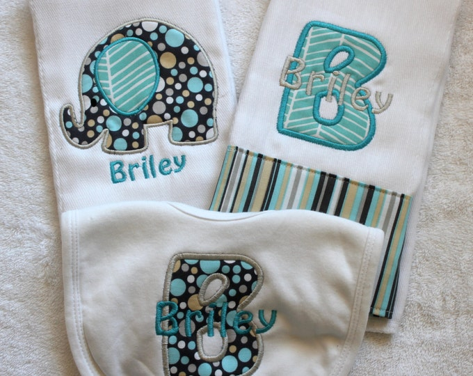 Personalized Monogrammed Custom Boy Elephant Burp Cloth Set - Custom Burp Cloth Set for new baby boy - Personalized Elephant Burp Cloth Set