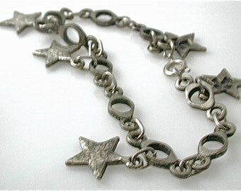 Rustic  Bracelet Silver  Cross and Star mixed metal