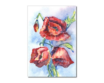 red poppy original watercolor painting, postcard, greeting card size 3.94 x 5.75 in