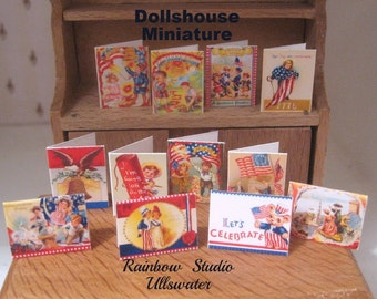 dollhouse  independence day greeting cards x 12 victorian inspired 12th scale miniature