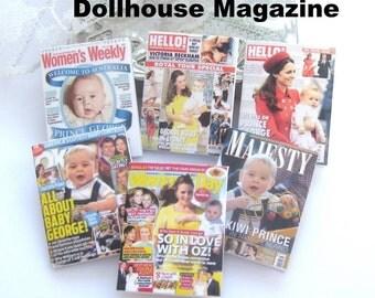 dollhouse royal Australian tour  prince George  magazines x 6  miniature 12th scale lakeland artist