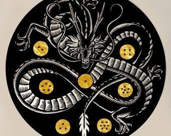 Shenron Linocut Print with Gold Leaf