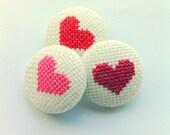 Wedding favor - baby shower favor - Heart pinback button (set of 3)