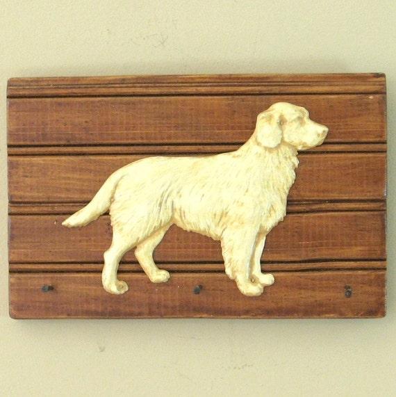 Golden Retriever Dog Wall Key Holder or Leash Holder Wall Hanging