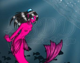 Anime Mermaid Art Print 8.5x11 and 5x7 #534 Underwater Sandy