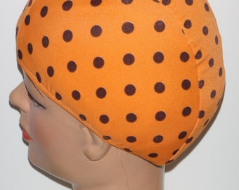 Dotted Orange Lycra Swim Cap