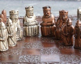 isle of lewis chess set with viking berserker rook colours pieces only