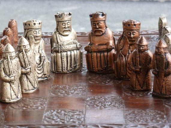 Isle of lewis chess set with viking berserker rook - Lewis chessmen set ...