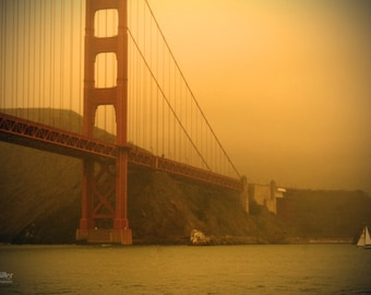"Fine Art Photo - Title: ""San Francisco Bridge 1"" - billi j miller photography - San Francisco, California, pop of red, sepia, water, bridges"