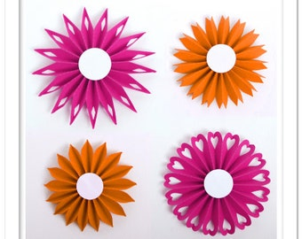 3D Pleated accordion flowers cutting files templates in SVG, DXF, PDF formats
