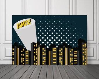 Batman Birthday Backdrop or Poster - Batkid Birthday Backdrop Banner - Superhero Vinyl Backdrop