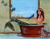 Spring Mermaid, Giclee Print on Gallery Wrapped Canvas