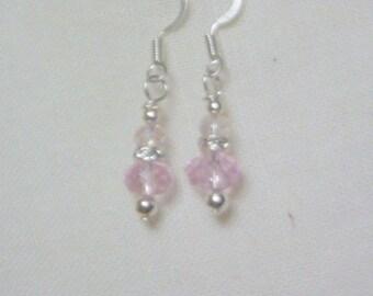 Ladies Crystal Earrings - Pink Crystals with rhinestone spacers - Wedding Earrings - bridesmaids earrings